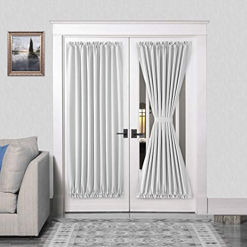 DWCN French Door Curtains – Rod Pocket Thermal Blackout Curtain for Doors with Glass Window Kitchen and Patio Doors for Privacy 54 X 72 Inches Long 2 Curtain Panels with Tieback Greyish White