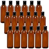 Vumdua 18 Pack Empty Plastic Squeeze Bottles, 8oz Amber Travel Bottles with Disc Top Flip Cap, Refillable BPA-Free Plastic Containers For Shampoo, Lotions, Body Wash
