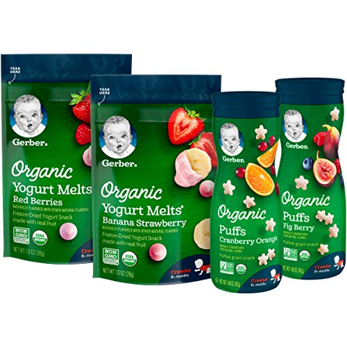 Gerber Up Age Snacks Variety Pack - Organic Yogurt Melts & Organic Puffs, 7Count
