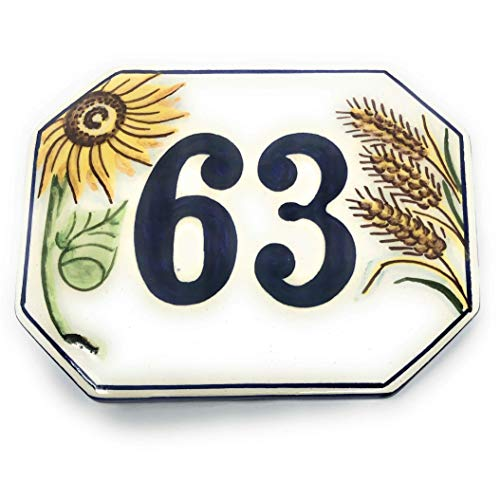 CERAMICHE D'ARTE PARRINI- künstlerische Italienisch Keramik personalisierte 15x12 Keramik Hausnummer Dekoration Sonnenblumen und Weizen Fliese Stecker aus der Hand gemacht in Italien Toskana