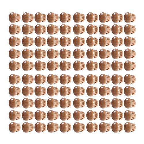 Uotyle, pomelli in legno non finiti, rotondi, a forma di fungo, in legno, per cassetti, armadi, cassettiere, porte, mobili con viti in acciaio, 100 pezzi