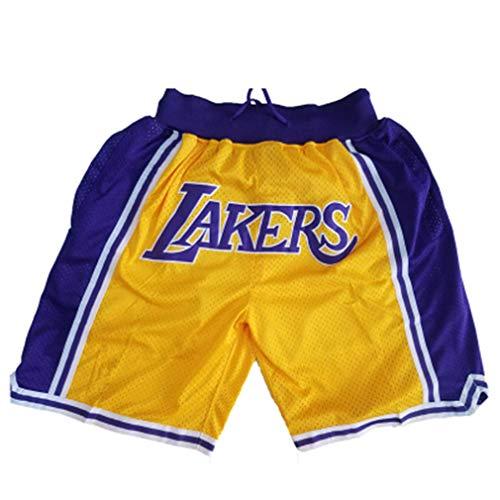 DCC Lakers Pantalón Corto para Hombre Los Angeles Lakers Deportivos Retro Swingman Pantalones Deportivos para S-XL (Yellow, M)