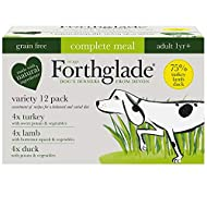 Forthglade Complete Natural Wet Dog Food - Grain Free Variety Pack (12 x 395 g) Trays - Turkey, Lamb...