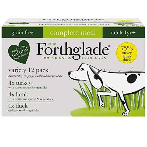 forthglade 100% natürlich Korn gratis komplett Mahlzeit Fleisch AUSWAHL HUND HAUSTIER FUTTER Multipack 395g (12er Pack)