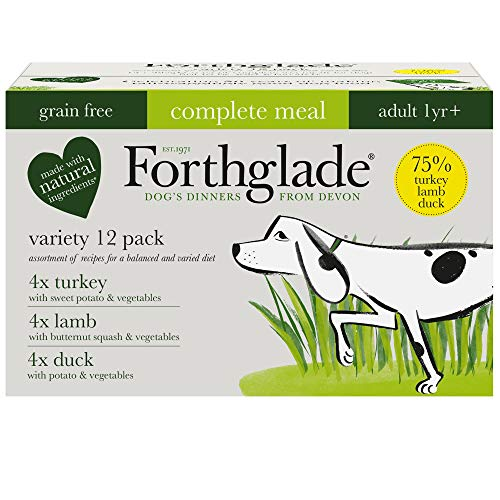 Forthglade Natural Grain Free Complete Wet Dog Food Meat, Pack of 12