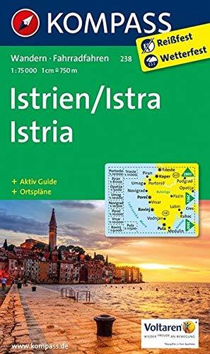 Istrien / Istra / Istria: Wanderkarte mit Aktiv Guide, Radrouten und Ortsplänen. 1:75000: Wandelkaart 1:75 000 (KOMPASS-Wanderkarten, Band 238)