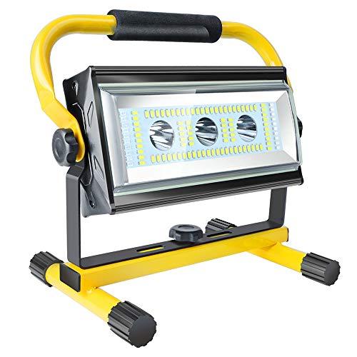 Led Baustrahler Akku Strahler - 80W Baulampe Arbeitsleuchte mit 6 Dimmstufen(300~3000 Lumen), Arbeitsleuchte Tragbar, bis 10 Stunden Leuchtdauer, USB Ausgang-Ports, Außen Beleuchtung für Camping