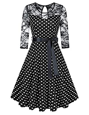 GloryStar Women's Vintage Floral Lace Dress Cocktail Party Wedding Formal Swing Midi Dresses