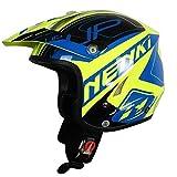 Mdder Motocross Off-Road Casco Downhill Extreme Motocicleta Casco Motocicleta Moto Simple y Forro Pico Desodorante cálido - Verde Azul XS