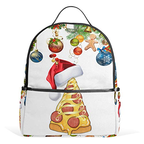 MUOOUM Santa Cap Pizza Chistmas Backpack Casual Daypack School College Travel Bag for Teens Boys Girls