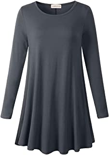 LARACE Plus Size Tunic Tops for Women Long Sleeve Swing Shirt Loose Fit Flowy Clothing for Leggings, Deep Gray Large
