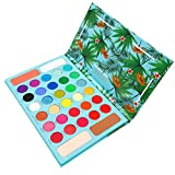 Tropical Eyeshadow Palette Docolor High Pigmented Makeup Palette Easy to Blend Color 34 Color Eye Shadow Matte Glitter Professional Makeup Blush Highlighter Contour Powder Long Lasting Sweatproof and Waterproof Eye Shadows