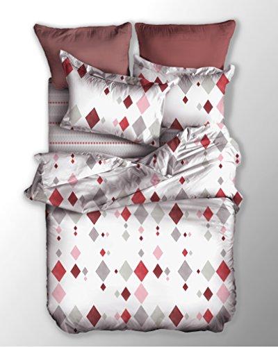 DecoKing Ropa de Cama 200x220 cm 2 Fundas de la Almohada 80x80 Funda Nórdica Microfibra Cremallera Basic Collection Romb Blanco Gris Rosa Rojo Burdeos