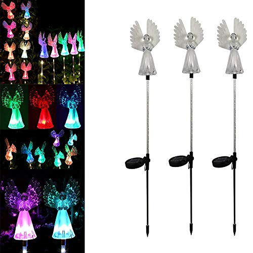 Solar Angel Lights Outdoor Decorative, Garden Gifts for Mom Wife Women, Color Changing LED Stake Light with Fiber Optic Power for Loved One's, IP65 Yard Patio Lawn Grave Cemetery Decorations 1Pack