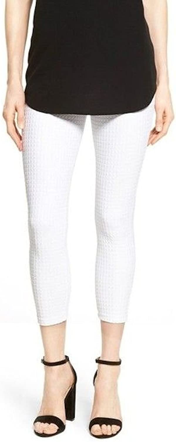 HUE Women's Checkered Knit Capris (MD (US Women's 810) X 24, White)