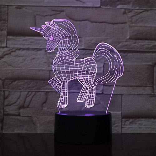 FUTYE Lámpara de ilusión 3D LED luz nocturna decorativa caballo Pony unicornio artículo lámpara de mesa para bebé niñas dormitorio mejor cumpleaños regalos de vacaciones para niños