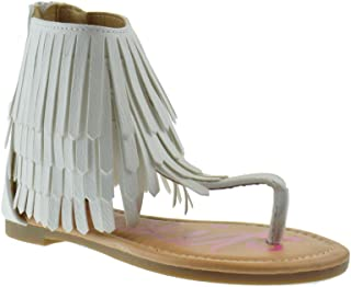 Nada 12K Little Girls Fringe Thong Flat Gladiator Sandals