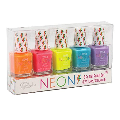 Three Cheers for Girls by Make it Real - Neon Nail Polish Set - Safe Non Toxic Nail Polish Kit for Girls - Quick Dry Nail Polish with Neon Yellow, Bright Pink, & More! - Includes 5 Colors