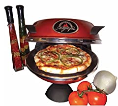 Cooking Chamber reaches over 750°F (400°C) ceramic refractory cooking stone Cooks fresh pizzas to perfection in under 10 minutes Includes 2-piece wooden pizza peel