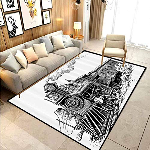 Steam Engine Rugs for Living Room Bathroom Rugs and mats Sets Rustic Old Train in Country Locomotive Wooden Wagons on Rail Road with Smoke Carpet Sliders for Exercise Carpet for Rooms Black and White