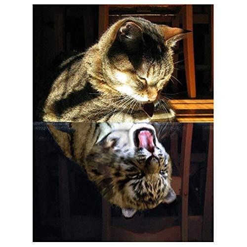 ASWETOTG Nuevo HD 5d DIY Diamante Bordado Animal Gato Reflexión Tigre Círculo Completo Cubo de Rubik Imagen de Diamantes de imitación Diamante Punto de Cruz