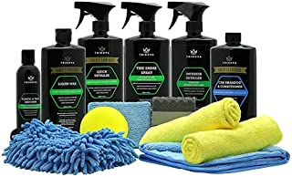 Car Wash Kit Complete Detailing Supplies for Cleaning. Soap, Wax, Tire Shine, Trim Restorer, Wash Mitt, Applicator, Microf...