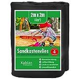Xabian Sandkastenvlies 2x2m schwarz 80g/m² inklusive 4X Erdanker I Schutzvlies für Sandkasten gegen Unkraut I Ideal als Sandkastenfolie und Unterlage gegen Unkraut & Vermischen mit dem...