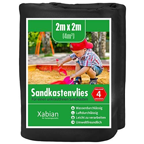 Xabian Sandkastenvlies 2x2m schwarz 80g/m² inklusive 4X Erdanker I Schutzvlies für Sandkasten gegen Unkraut I Ideal als Sandkastenfolie und Unterlage gegen Unkraut & Vermischen mit dem Untergrund
