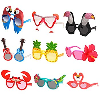 Ocean Line Luau Party Sunglasses - 9 Pairs Funny Hawaiian Glasses Tropical Fancy Dress Props Fun Summer Kids Party Favors Beach Themed Party Supplies Decoration