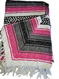 Mexican Falsa Blanket 52' X 77' – Authentic Handwoven Yoga Blanket – Navajo Blanket, Camping Blanket , Picnic Blanket, Saddle Blanket (Sudadero para Caballo) Handcrafted by Mexican Artisans. (Pink)