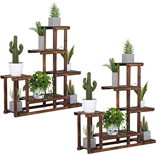 Yaheetech 2X Pflanzenregal Holz Blumenregal 5 Ebenen Blumentreppe Holzregal Blumenbank Balkon Garten Outdoor Wohzimmer