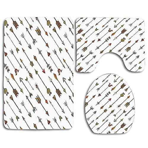 """Dimensiones del juego de 3 piezas: 1 tapete de baño: 1 tapete de baño (19.5 """"x 31.5""""). 1 alfombra de contorno (15.7 """"x 19.7""""). 1 tapa con tapa (13.8 """"x 17.7""""). Material: franela Soft Comfort; respaldo de goma antideslizante. La superficie suave propo..."""