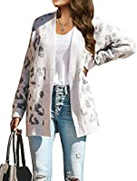 ZESICA Women's Long Sleeves Open Front Leopard Print Knitted Sweater Cardigan Coat Outwear with Pockets