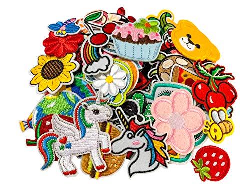 LABOTA 60pcs Hierro en parches Ropa Parches coser parches bordados Pegatinas Patrón Bordado Bricolaje Accesorio para Camiseta Jeans Sombreros Bolsas Ropa (Style1)