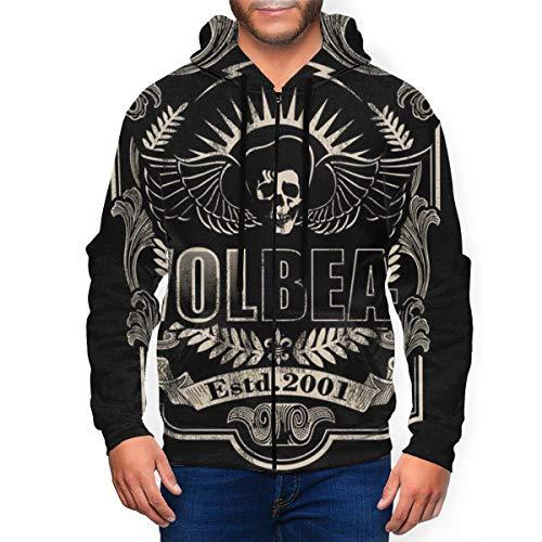 Not Mens 3D gedruckt Full Zip Up Hoodie Volbeat Langarm Hoodies Pullover Sweatshirt Jacke mit Taschen