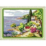 Kits de juegos de punto de cruz contados junto al mar de costura de bricolaje gratis para bordar agujas de tejer manualidades Hobby hecho a mano 11CT Impreso preciso 51x39cm