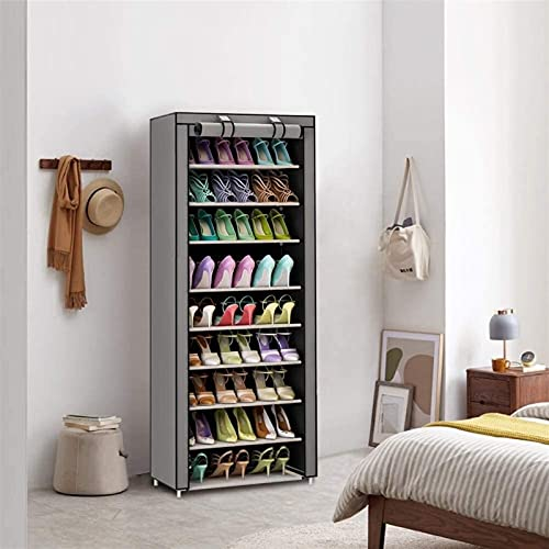 Gabinete del Zapato del Armario de Tela con 10 Niveles Rack de Zapatos Grises con Caja de Zapatos de Capa de Tela Zapato de Zapatos Grande Zapato de Zapatos