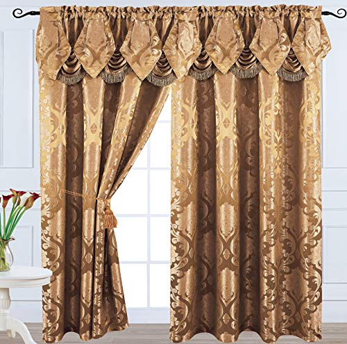 Luxury Jacquard Curtain Panel with Attached Waterfall Valance, 54 by 84-Inch Angelina (Light Brown)