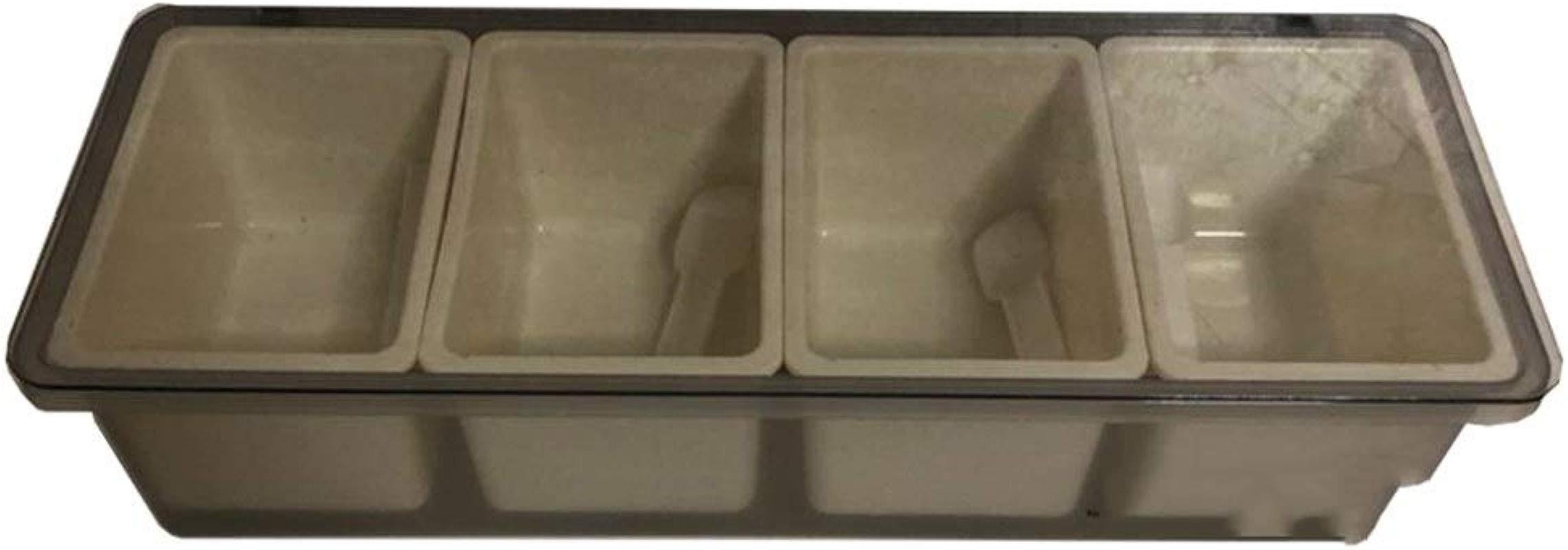 Kitchen Supplies Four Grid With Spoon Seasoning Storage Box Seasoning Jar Set Flip Plastic Seasoning Box Storage Household Color Grey
