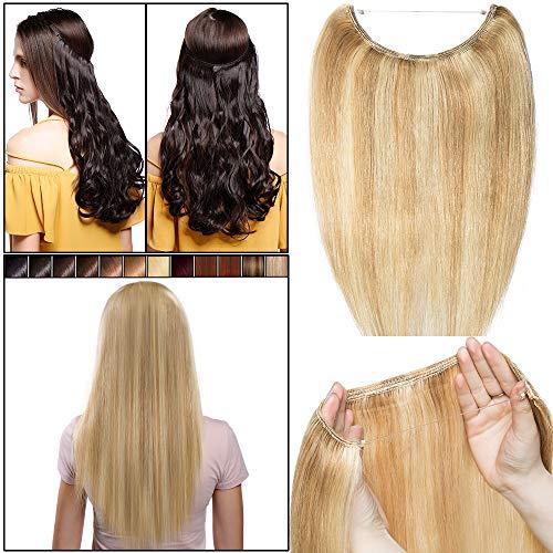 Elailite Extension Capelli Veri Wire in Una Fascia con Filo Trasparante Capelli Umani Naturali 100% Remy Human Hair Lisci 18#/613# Beige Sabbia Biondo/Bleach Biondo - 50cm 70g