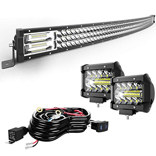 TURBO SII Led Light Bar 30/32Inch 441W Curved Triple Row Offroad Led Bar Waterproof 44100LM Spot Flood Combo + 2Pc 4Inch Led Pods Fog...