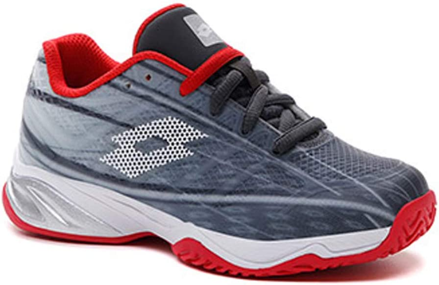 Lotto Junior Mirage 300 ALR Tennis Shoes, Asphalt/All White/Flame Red (US Size 4)