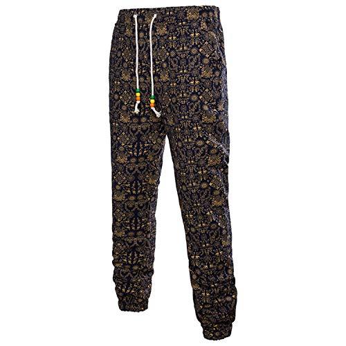 Hombre 3D Pantalones Chic Estampados Lino De Florales para Friends Joggers Pantalones Largos Ocasionales Pantalones Deportivos De Verano Sueltos Vintage Sweatpants Pantalones Deportivos
