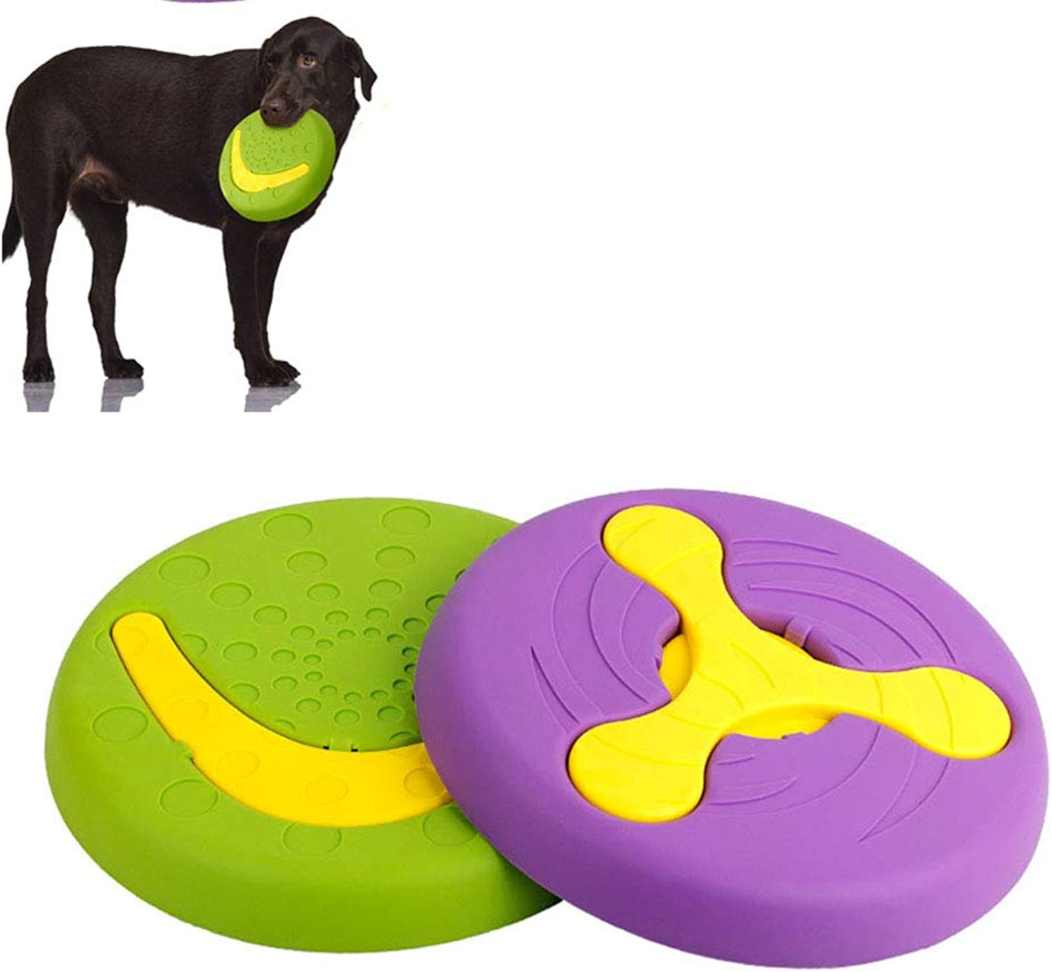 Dog Flying Disc, Pet Soft Rubber Flying Disc Tough Multifunction Toys Strong Pet Training Toys for Medium and Large Dogs 2pcs