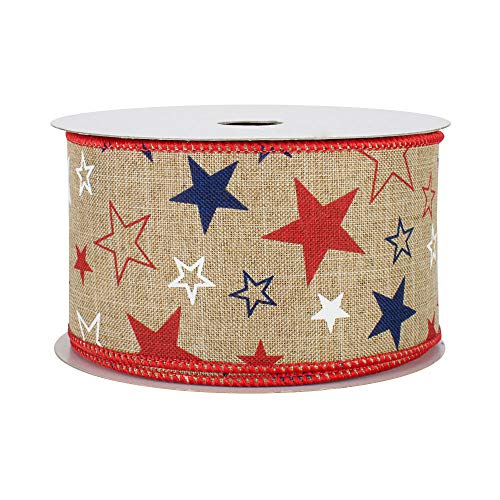 Patriotic Burlap Stars Wired Ribbon - 2 1/2' x 10 Yards, Memorial Day, President's Day, Veteran's Day, 4th of July Wreath Decor, Sparkly Silver, Red, Blue, Glitter, USA Banner Decorations