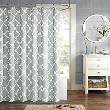 JLA Home INC Merritt Design Pattern Modern Fabric Shower Curtain, Simple Geometric Casual Shower Curtains for Bathroom, 72 X 96, Grey