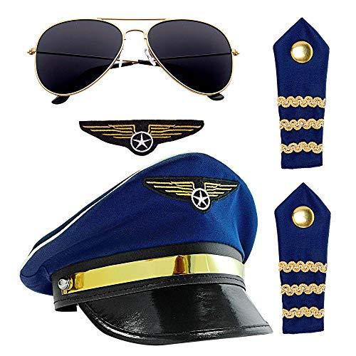 Widmann 01171 Pilotenset für Erwachsene, Unisex, Blau, Einheitsgröße
