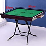 Mebeauty Mahjong Tisch Tragbare Einfache Hand Mahjong Tabelle 85cm Licht Massivholzmaserung Dual-Use-Oberfläche + Edelstahlrahmen (Farbe : Braun, Größe : 85x85cm) -