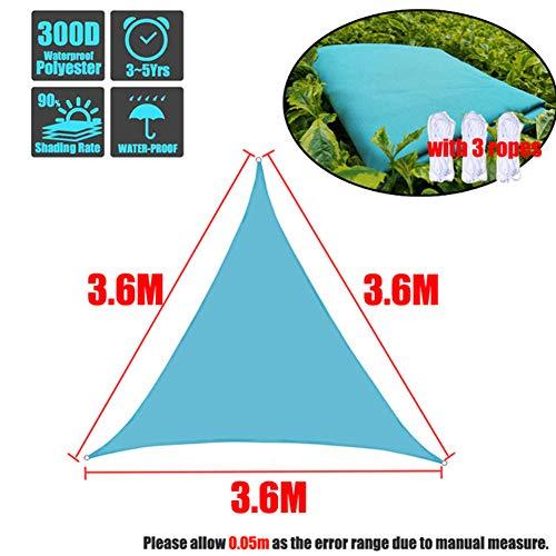 HS-Zak Miller Sun Sail Shade 8 Tamaños Regular Shade Triángulo De Vela De Poliéster Impermeable Toldo del Cielo Azul Al Aire Libre Sun Refugio Jardín Cobertizo Camping Canopy,3.6 * 3.6 * 3.6 m