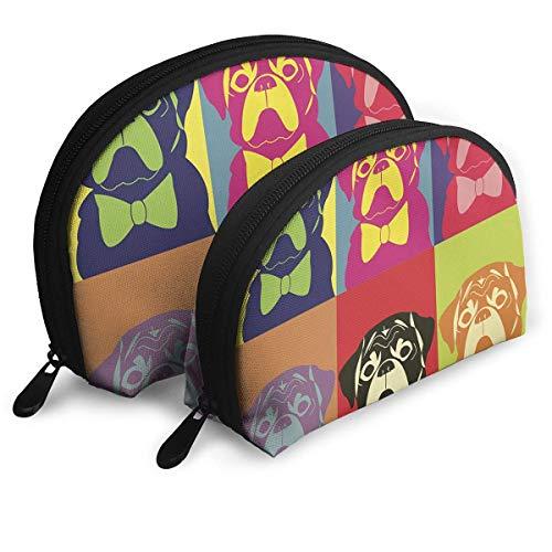Portable Shell Makeup Storage Bags Cute Dog Portraits Art Travel Waterproof Toiletry Organizer...